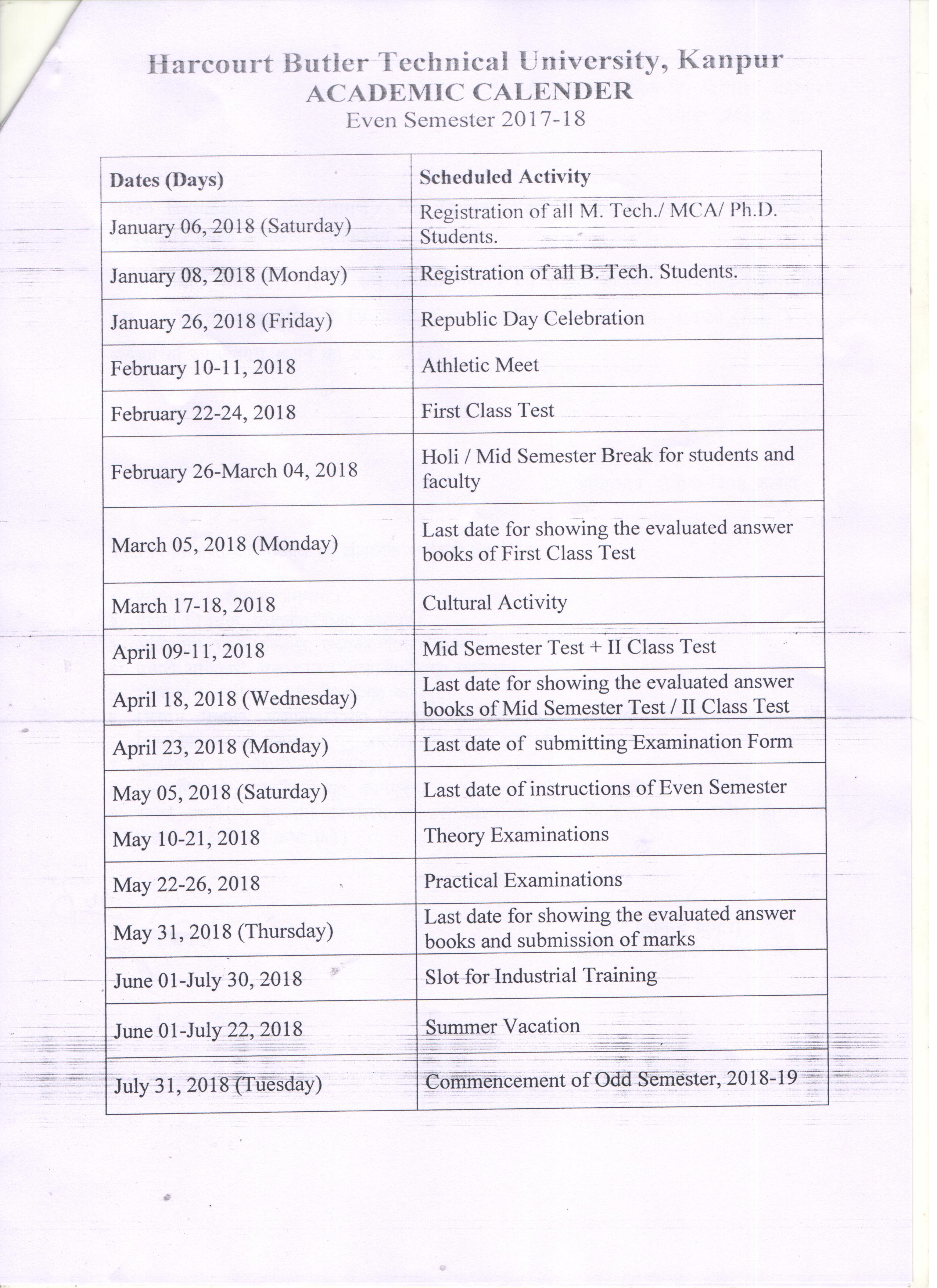 academic planning calendar